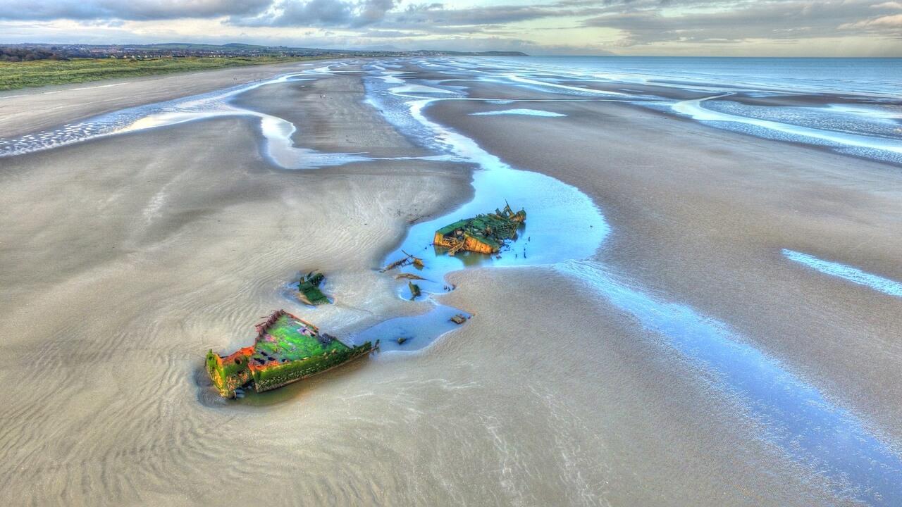 ship wreck on baltray beach